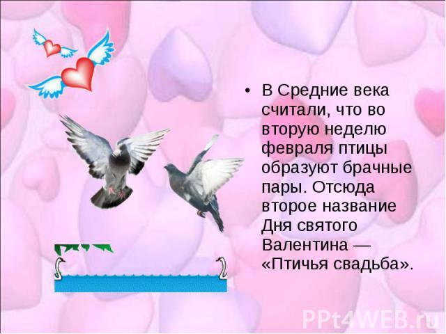 В Средние века считали, что во вторую неделю февраля птицы образуют брачные пары. Отсюда второе название Дня святого Валентина — «Птичья свадьба».