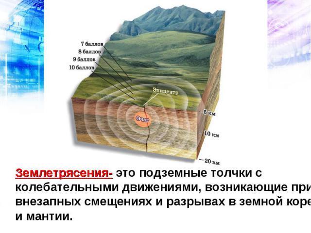 Землетрясения- это подземные толчки с колебательными движениями, возникающие при внезапных смещениях и разрывах в земной коре и мантии.