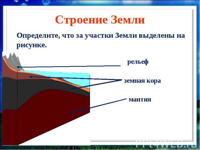 Строение Земли Определите, что за участки Земли выделены на рисунке.