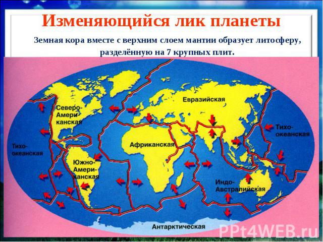 Изменяющийся лик планеты Земная кора вместе с верхним слоем мантии образует литосферу, разделённую на 7 крупных плит.