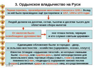 3. Ордынское владычество на Руси Первая перепись, произвёденная монголами относи