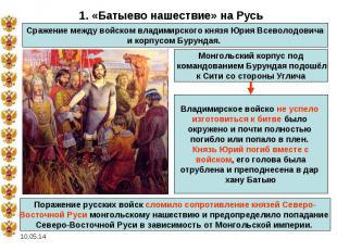 1. «Батыево нашествие» на РусьСражение между войском владимирского князя Юрия Вс