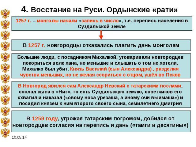 4. Восстание на Руси. Ордынские «рати» 1257 г. – монголы начали «запись в число», т.е. перепись населения в Суздальской земле В 1257 г. новгородцы отказались платить дань монголам Большие люди, с посадником Михалкой, уговаривали новгородцев покорить…