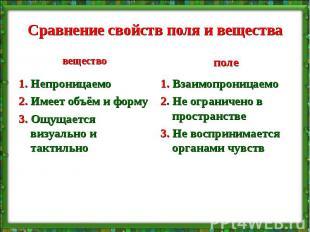 Сравнение свойств поля и вещества 1. Непроницаемо 2. Имеет объём и форму 3. Ощущ