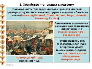 1. Хозяйство – от упадка к подъемуБольшая часть городских «торгов» - рынков имел