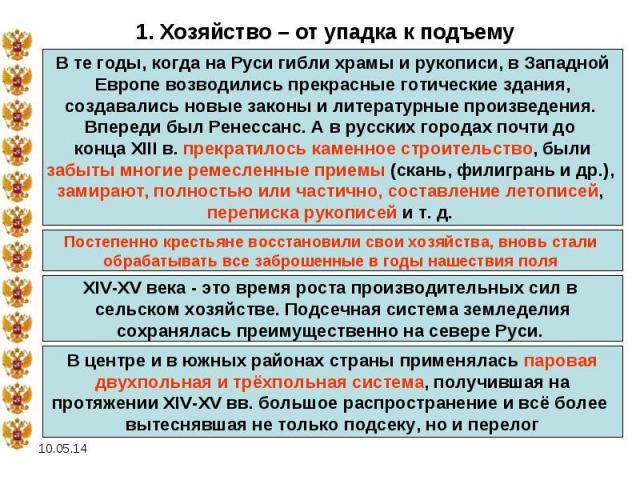 1. Хозяйство – от упадка к подъемуВ те годы, когда на Руси гибли храмы и рукописи, в Западной Европе возводились прекрасные готические здания, создавались новые законы и литературные произведения. Впереди был Ренессанс. А в русских городах почти до …