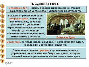 4. Судебник 1497 г.Судебник 1497 г. - первый кодекс законов единой России — закр
