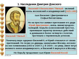 1. Наследники Дмитрия Донского Василий II Васильевич Тёмный - великий князь моск