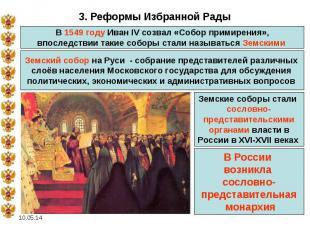3. Реформы Избранной Рады В 1549 году Иван IV созвал «Собор примирения», впослед