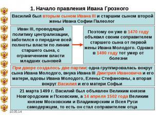 1. Начало правления Ивана Грозного Василий был вторым сыном Ивана III и старшим