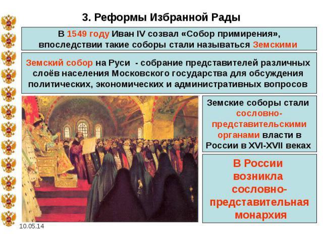 3. Реформы Избранной Рады В 1549 году Иван IV созвал «Собор примирения», впоследствии такие соборы стали называться Земскими Земский собор на Руси - собрание представителей различных слоёв населения Московского государства для обсуждения политическ…