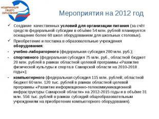 Мероприятия на 2012 годСоздание качественных условий для организации питания (за