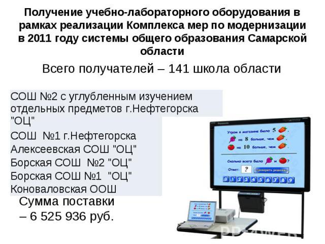 Получение учебно-лабораторного оборудования в рамках реализации Комплекса мер по модернизации в 2011 году системы общего образования Самарской области Всего получателей – 141 школа области