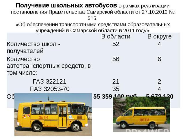 Получение школьных автобусов в рамках реализации постановления Правительства Самарской области от 27.10.2010 № 515 «Об обеспечении транспортными средствами образовательных учреждений в Самарской области в 2011 году»