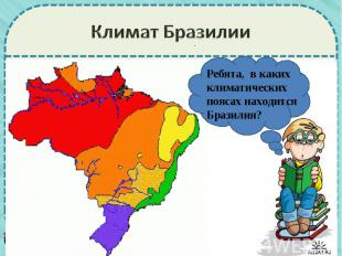 Климат БразилииРебята, в каких климатических поясах находится Бразилия?