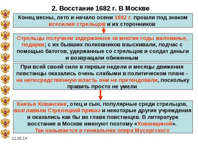 2. Восстание 1682 г. В МосквеКонец весны, лето и начало осени 1682 г. прошли под знаком всесилия стрельцов и их сторонников Стрельцы получили задержанное за многие годы жалованье, подарки; с их бывших полковников взыскивали, подчас с помощью батогов…