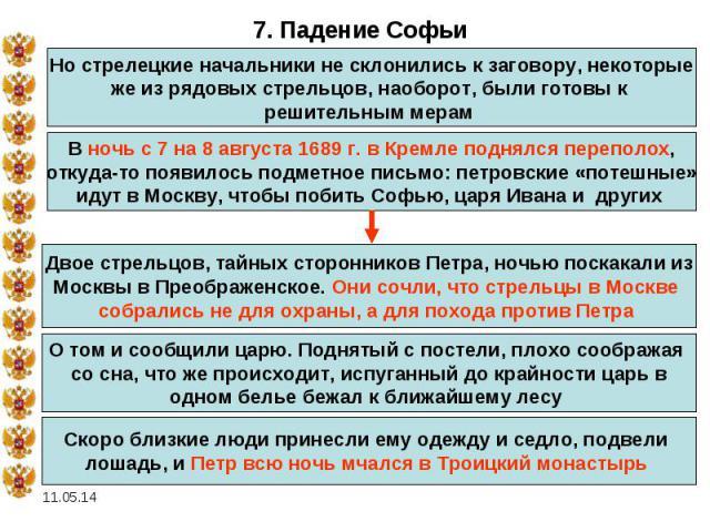 7. Падение СофьиНо стрелецкие начальники не склонились к заговору, некоторые же из рядовых стрельцов, наоборот, были готовы к решительным мерам В ночь с 7 на 8 августа 1689 г. в Кремле поднялся переполох, откуда-то появилось подметное письмо: петров…