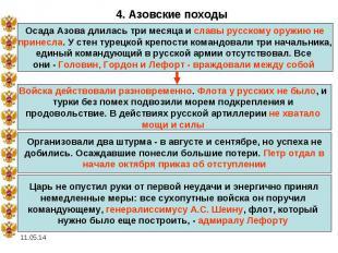 4. Азовские походыОсада Азова длилась три месяца и славы русскому оружию не прин