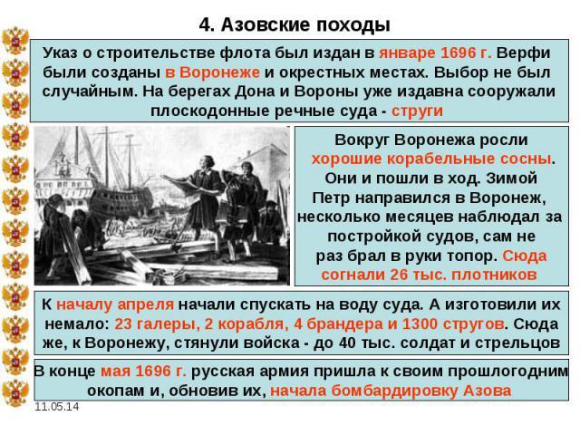 4. Азовские походыУказ о строительстве флота был издан в январе 1696 г. Верфи были созданы в Воронеже и окрестных местах. Выбор не был случайным. На берегах Дона и Вороны уже издавна сооружали плоскодонные речные суда - струги Вокруг Воронежа росли …