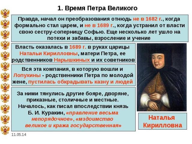 1. Время Петра ВеликогоПравда, начал он преобразования отнюдь не в 1682 г., когда формально стал царем, и не в 1689 г., когда устранил от власти свою сестру-соперницу Софью. Еще несколько лет ушло на потехи и забавы, взросление и учение Власть оказа…