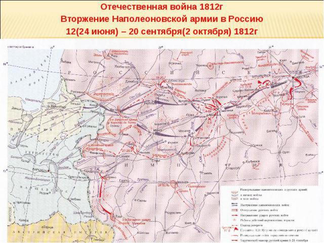 Отечественная война 1812г Вторжение Наполеоновской армии в Россию 12(24 июня) – 20 сентября(2 октября) 1812г