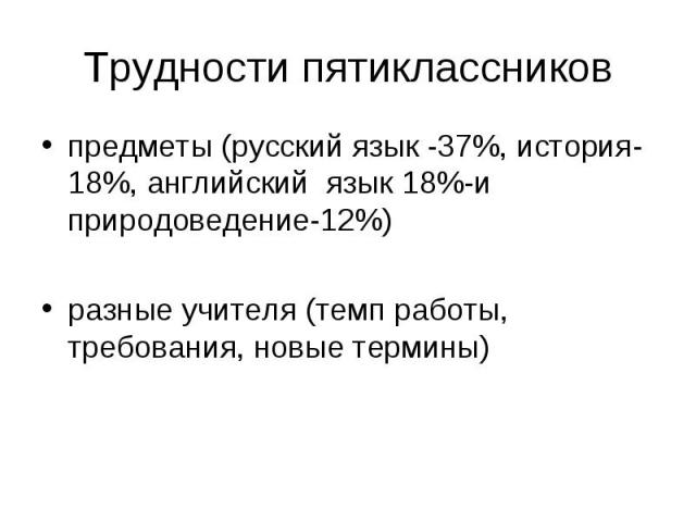 Трудности пятиклассников предметы (русский язык -37%, история-18%, английский язык 18%-и природоведение-12%) разные учителя (темп работы, требования, новые термины)