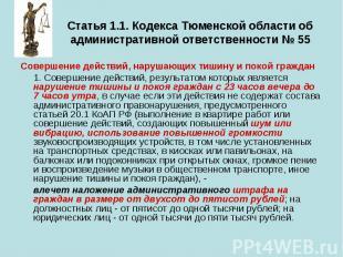 Статья 1.1. Кодекса Тюменской области об административной ответственности № 55 С
