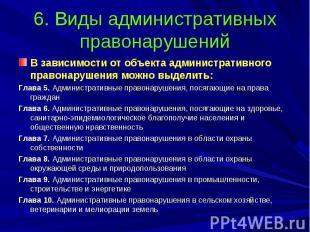 6. Виды административных правонарушений В зависимости от объекта административно