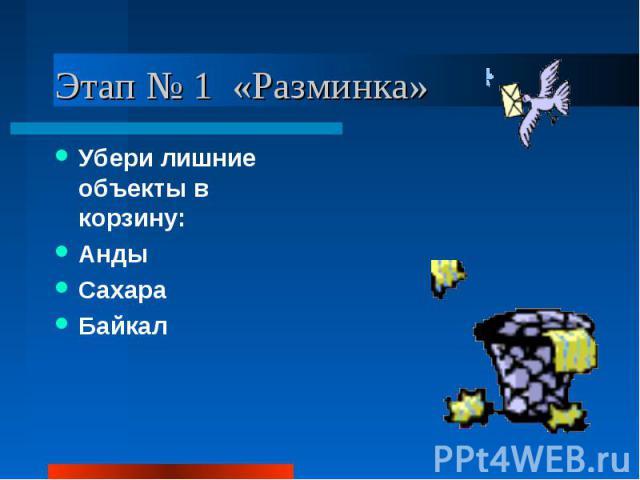 Этап № 1 «Разминка» Убери лишние объекты в корзину: Анды Сахара Байкал
