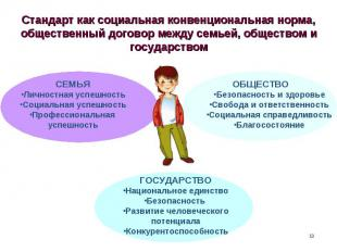 Стандарт как социальная конвенциональная норма, общественный договор между семье
