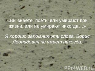 «Вы знаете, поэты или умирают при жизни, или не умирают никогда…» Я хорошо запом