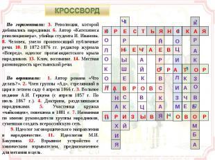 КРОССВОРД По горизонтали: 3. Революция, которой добивались народники. 6. Автор «