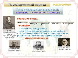 Пореформенный период Теория официальной народности . - незыблемость самодержавия