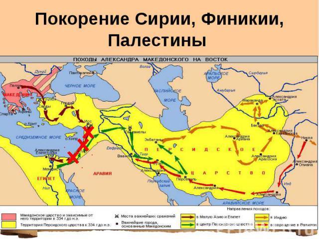 Покорение Сирии, Финикии, Палестины