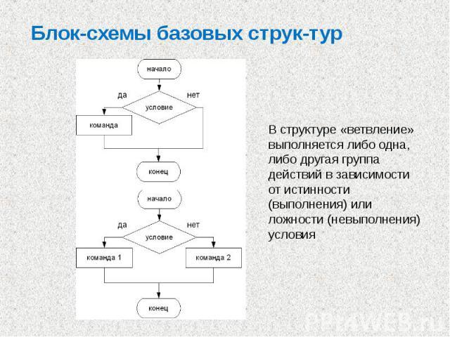 Блок-схемы базовых струк тур В структуре «ветвление» выполняется либо одна, либо другая группа действий в зависимости от истинности (выполнения) или ложности (невыполнения) условия