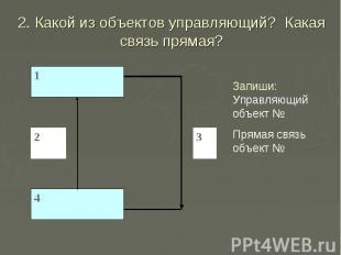 2. Какой из объектов управляющий? Какая связь прямая? Запиши: Управляющий объект