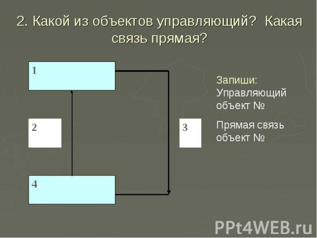 2. Какой из объектов управляющий? Какая связь прямая? Запиши: Управляющий объект № Прямая связь объект №