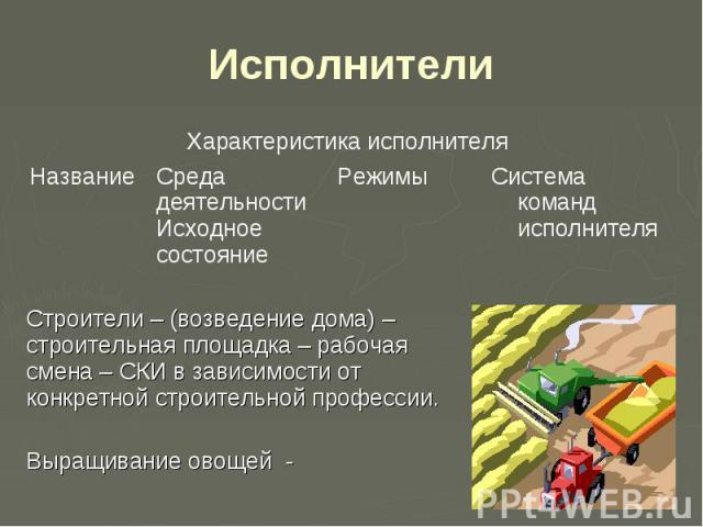 Исполнители Строители – (возведение дома) – строительная площадка – рабочая смена – СКИ в зависимости от конкретной строительной профессии. Выращивание овощей -