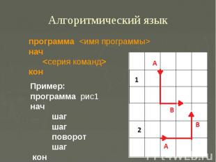 Алгоритмический языкпрограмма нач кон Пример: программа рис1 нач шаг шаг поворот
