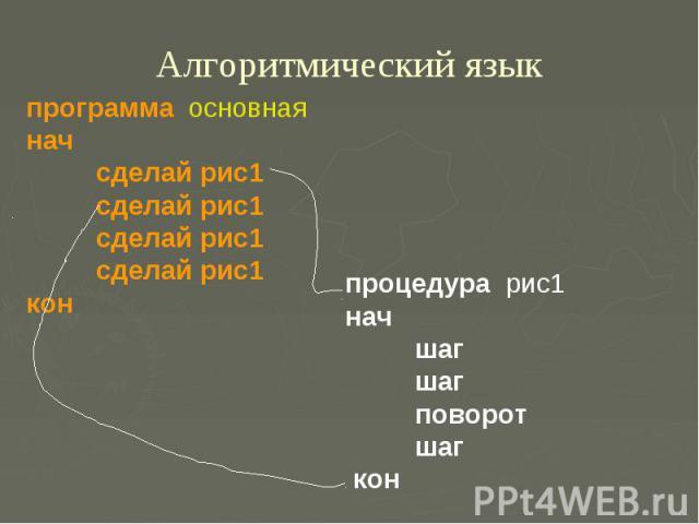 Алгоритмический языкпрограмма основная нач сделай рис1 сделай рис1 сделай рис1 сделай рис1 кон процедура рис1 нач шаг шаг поворот шаг кон