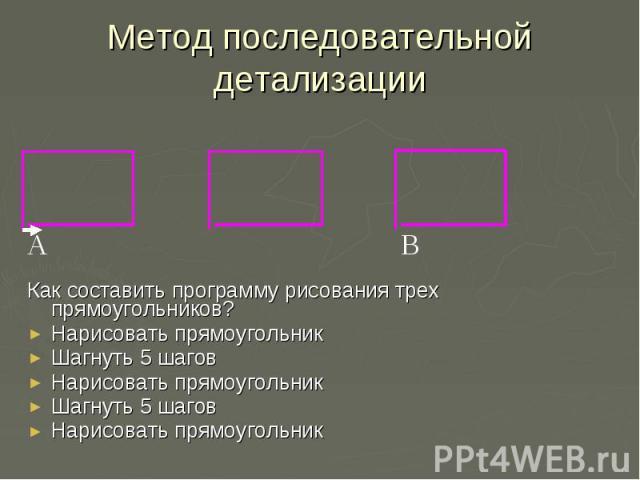 Метод последовательной детализацииКак составить программу рисования трех прямоугольников? Нарисовать прямоугольник Шагнуть 5 шагов Нарисовать прямоугольник Шагнуть 5 шагов Нарисовать прямоугольник
