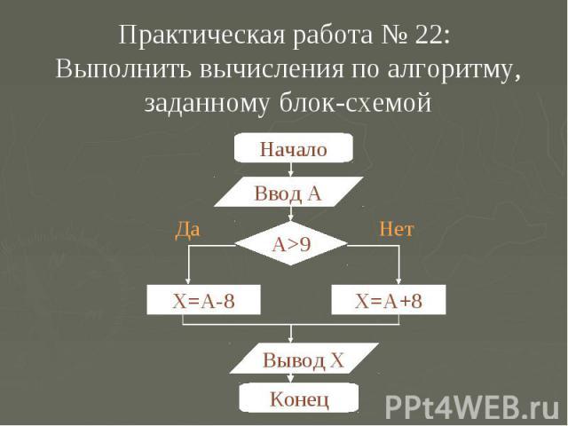 Практическая работа № 22: Выполнить вычисления по алгоритму, заданному блок-схемой