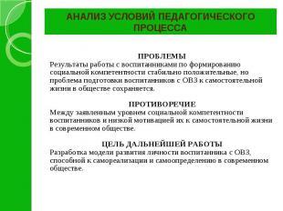 АНАЛИЗ УСЛОВИЙ ПЕДАГОГИЧЕСКОГО ПРОЦЕССА ПРОБЛЕМЫ Результаты работы с воспитанник
