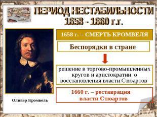 ПЕРИОД НЕСТАБИЛЬНОСТИ 1658 - 1660 г.г. 1658 г. – СМЕРТЬ КРОМВЕЛЯ решение в торго
