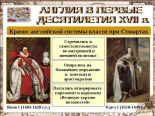 АНГЛИЯ В ПЕРВЫЕ ДЕСЯТИЛЕТИЯ XVII в. Кризис английской системы власти при Стюарта
