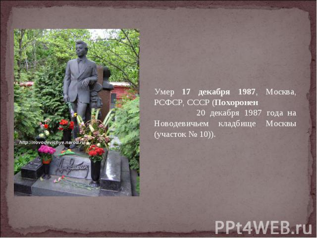 Умер 17 декабря 1987, Москва, РСФСР, СССР (Похоронен 20 декабря 1987 года на Новодевичьем кладбище Москвы (участок № 10)).