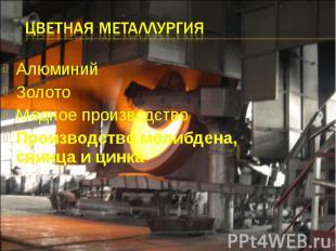 Цветная металлургия Алюминий Золото Медное производство Производство молибдена,