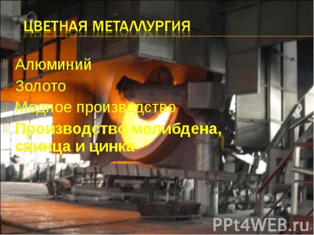 Цветная металлургия Алюминий Золото Медное производство Производство молибдена, свинца и цинка