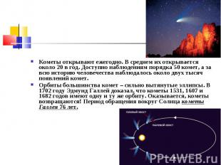 Кометы открывают ежегодно. В среднем их открывается около 20 в год. Доступно наб