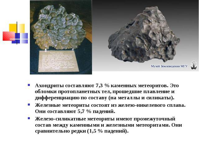 Ахондриты составляют 7,3 % каменных метеоритов. Это обломки протопланетных тел, прошедшие плавление и дифференциацию по составу (на металлы и силикаты). Железные метеориты состоят из железо-никелевого сплава. Они составляют 5,7 % падений. Железо-сил…